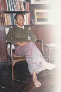 Saya Mya Than Tint at his home, Rangoon, 1996