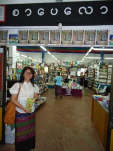 Ma Thida at a Yangon bookshop with her newly published prison memoir