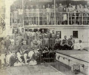 Lascars and European Officers of the steamship Oolobaria; 1890 (Memorial University Maritime History Archive [MHA])