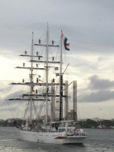 16 Cadets on the mast of INS Sudarshini