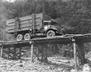 A lorry loaded with pontoons arrives at the site of the 1,100ft floating bailey bridge over the Chindwin River, built after the capture of Kalewa,  1944.