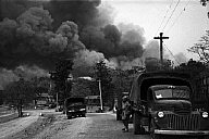 BURMA. Pynmana. World War II. Japanese planes bomb the village (George Rodger, 1942, Magnum)