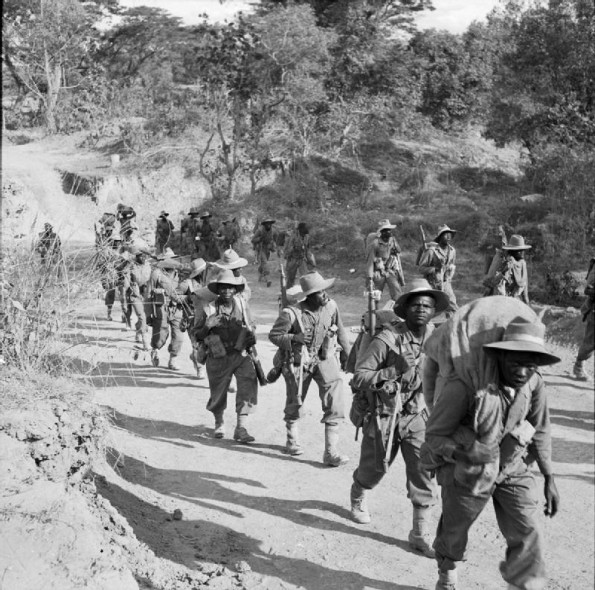 Troops of 11th East African Division on the road to Kalewa, Burma, during the Chindwin River crossing. - See more at: http://ww2today.com/featured/burma-britains-longest-campaign-of-world-war-ii#sthash.ReyKvIuQ.dpuf