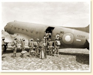 "Troops boarding Douglas ""Dakota"" aircraft, Burma, 1944."