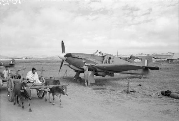 A Burmese bullock cart passes Hawker Hurricane Mark IIC, LE336, of No. 34 Squadron RAF, as ground crews prepare it for another sortie at Palel, Burma.